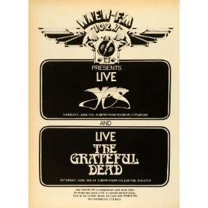 1976 Ad WNEW FM New York Radio 102.7 Concerts Grateful Dead Yes Rock