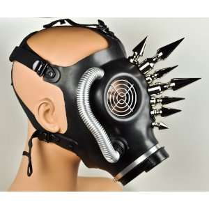 Heavy Metal Fat Horn Spike Gas Mask Industrial Halloween