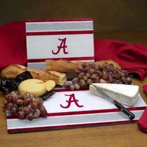 ALABAMA CRIMSON TIDE Team Logo Glass CUTTING BOARD SET of