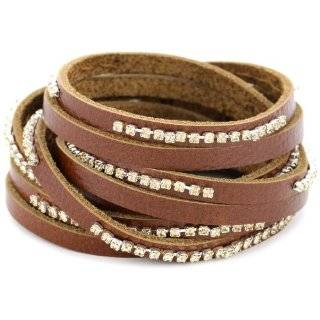 Presh Crystal Rhinestone and Gold Leather Strip Wrap Bracelet Jewelry
