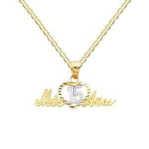 Yellow and White 2 Tone Gold 15 Años Charm Pendant with Yellow Gold