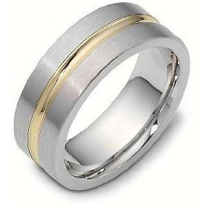 8mm Titanium & 18 Karat Yellow Gold Classic Wedding Band Ring