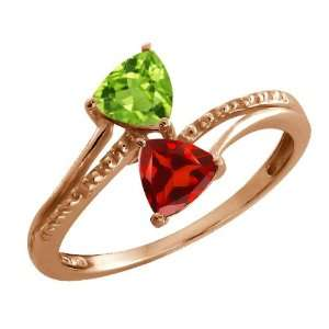 Ct Trillion Green Peridot and Red Garnet 18k Rose Gold Ring Jewelry