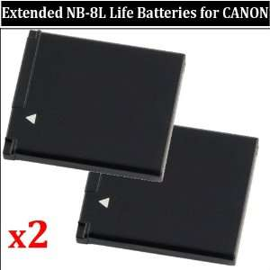 2 Extended Life Replacement Batteries for Canon A3100IS
