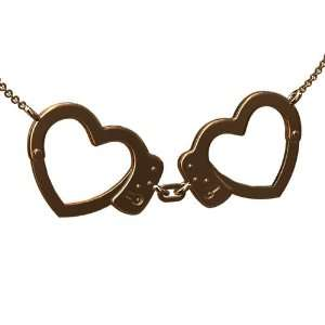 14K Pink Gold Police Heart Handcuffs Pendant P&P Luxury Jewelry