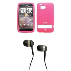 EMPIRE Pink Silicone Skin Cover Case + Stereo Hands Free 3