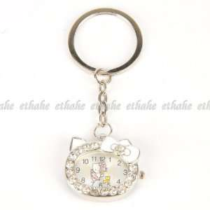 Hello Kitty Pocket Watch Keyring Keyfob Silver Office