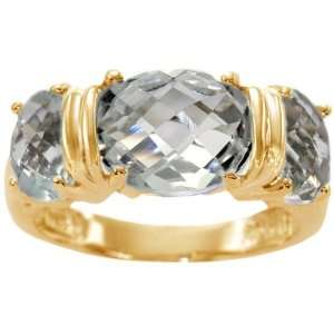 14K Yellow Gold Large Three Stone Oval Ring White Topaz