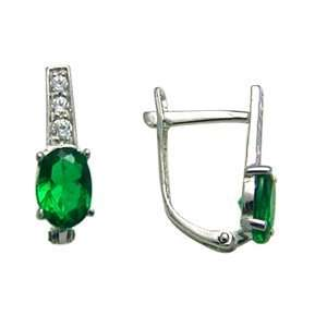 Green   Cascading Decadence 14k White Gold Huggie Earrings Jewelry