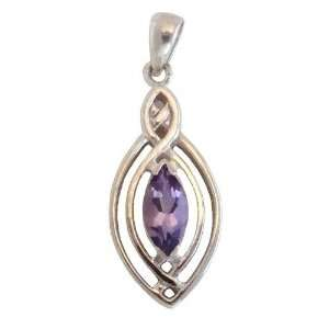Sterling Silver Gemstone Natural Amethyst Pendant Jewelry