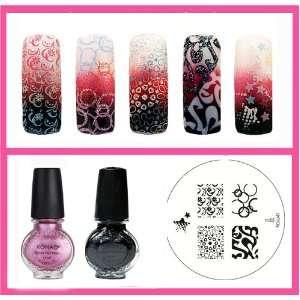 Konad Stamping Nail Art 2 Special Polishes Black, Vivd Pink + Image
