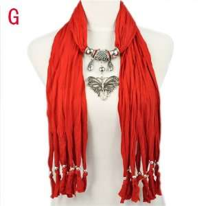 New Designed Scarves for Women with Butterfly Pendant Red Jewelry