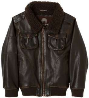 Weatherproof Boys 2 7 Faux Leather Flight Jacket Clothing