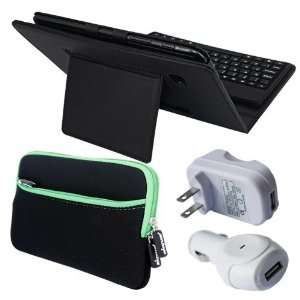 Premium Black Leather Case With Bluetooth Keyboard + Green