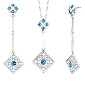 carats Round Shape London Blue Topaz Pendant Earrings Set in Sterling