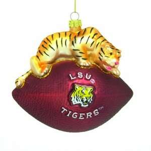 LSU Tigers 6 Glass Mascot Football Ornament: Sports
