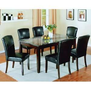 CROWN MARK ONYX BLACK MARBLE TOP 2466 DINING ROOM SET TABLE & 6 SIDE