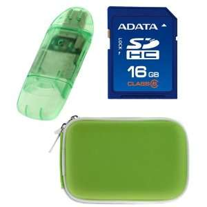 + USB Memory Card Reader + Green Camera Pouch Case for Nikon CoolPix