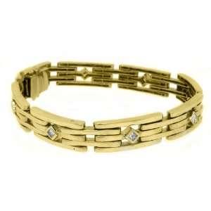 Gold Mens Square Cut Diamond Bezel Bracelet 1.12 Carats Jewelry
