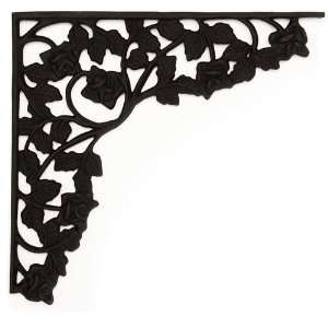 Rose Trellis Large Cast Iron Shelf Bracket   Black Powder