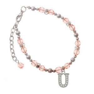 Crystal   U   Initial   Beaded Border Pink Czech Glass Beaded Charm
