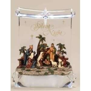 Nativity Scene on LED Lighted Clear Scroll Christmas Table Top