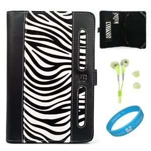 Black / White Zebra Print Executive Leather Portfolio Case Cover with