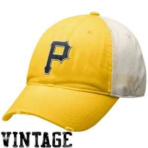 Pittsburgh Pirates Gold Natural Faded Relaxed Mesh Back Adjustable Hat