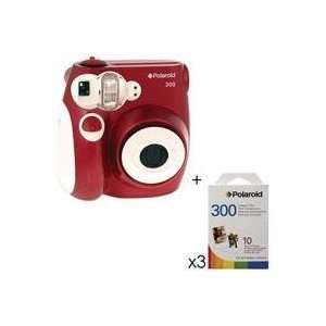 Polaroid Pic 300 Instant Camera, Analog   Red Kit, with 3