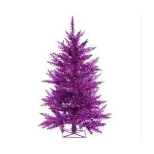 3 Pre Lit Sparkling Purple Artificial Tinsel Christmas Tree