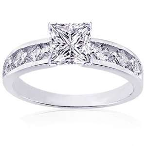 30 Ct Princess Cut Diamond Engagement Ring 14K VS1 GIA COLOR E CUT