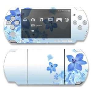 Sony PSP Slim 3000 Decal Skin   Blue Neon Flower