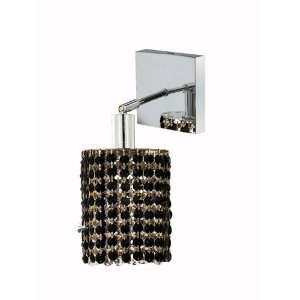 RC Mini 8 Inch High 1 Light Wall Sconce, Chrome Finish with Jet (Black