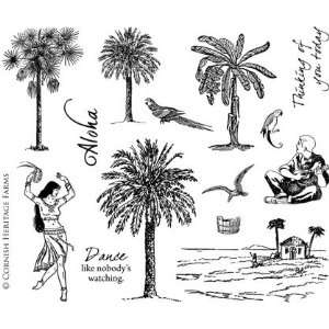 The Tropics   Scene It Cling Mounted Red Rubber Stamp Set by Cornish