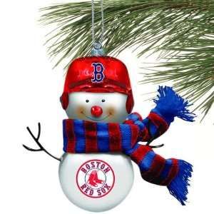 Boston Red Sox Blown Glass Snowman Ornament (Set of 2)