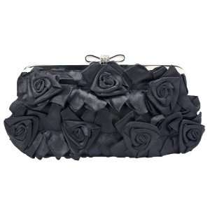 Black Satin Roses Clutch Purse with Rhinestones