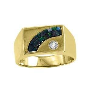 MENS MOSAIC OPAL & DIAMOND RING 14K YELLOW GOLD Jewelry