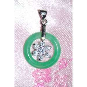 Green Jade Ring with Silver Flower Pendant Everything