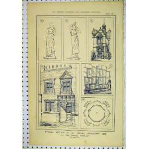 1878 Sketches Royal Academy Statues Architecture Print
