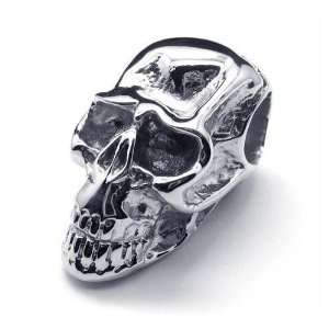 Polished Stainless Steel Death Skull Pendant Necklace Jewelry