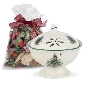 Spode Christmas Tree Pierced Covered Bowl with Potpourri Bag