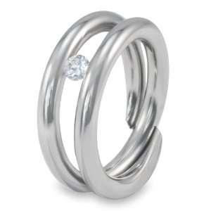 Stainless Steel Floating White CZ Ring   Size 7.0 West Coast Jewelry