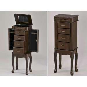 Style Queen Anne Jewelry Chest Armoire With Jewelry Storage Drawers