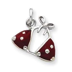 Sterling Silver Enameled Red Bikini Top Charm Jewelry