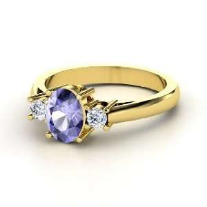 Ashley Ring, Oval Tanzanite 14K Yellow Gold Ring with Diamond Jewelry