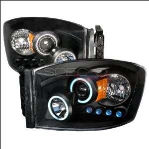 Dodge Ram 2006 2007 2008 CCFL LED Halo Projector Headlights   Black