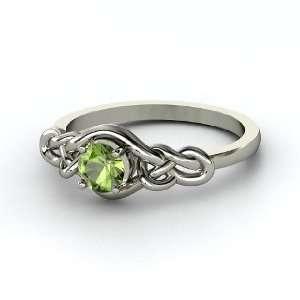 Sailors Knot Ring, Round Green Tourmaline Platinum Ring Jewelry