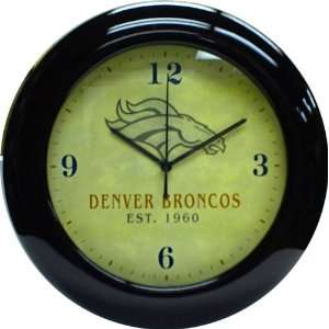 com Denver Broncos Mahogany Wood Frame Wall Clock Sports & Outdoors