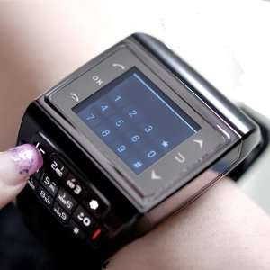 Watch Cell Phone Mobile Quad Band /4 FM Touch Srceen Black Cell