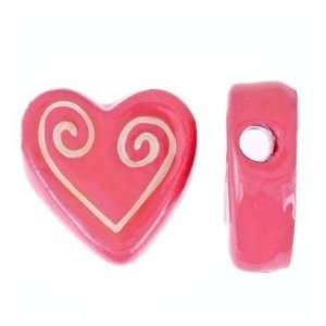 22mm Pink Scrolled Heart Whimsical Ceramic Beads: Arts